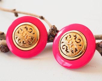 Vintage Plastic Earrings/ Vintage Earrings/ Vintage Jewelry/ Earrings/ 1980s Jewelry/ Retro Jewelry/ 80s Earrings/ Stud Earring