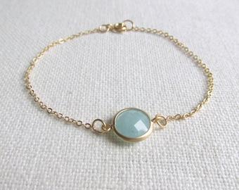 Green Amazonite Bracelet, Modern Minimal Seafoam Bracelet, Glass Stone, Dainty Jewelry, Minimalist