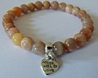 Sunstone Optimism Crystal Healing Gemstone Bracelet Amelie Hope Crystals Power Bead