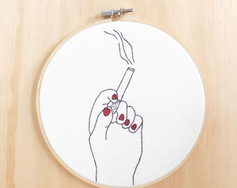 Smoking Hand Embroidered Hoop Art, Wall Art