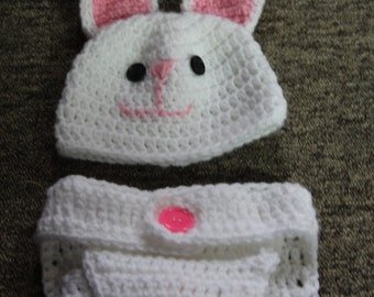 Baby Bunny Hat and Diaper 2 Pc Set, Crochet Baby Photo Prop, Bunny Hat, Hat and Diaper set, Cute Bunny Set. Baby Bunny Hat, Easter Hat Set