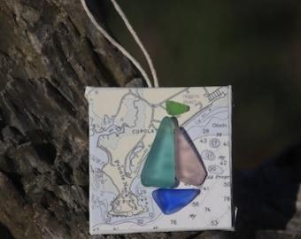 Maine Sea Glass Ornament