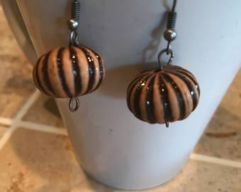 Wood bead boho hippie earrings, dangle earrings