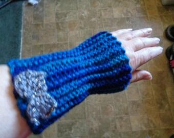 knit fingerless gloves,handwarmer-blue/bow