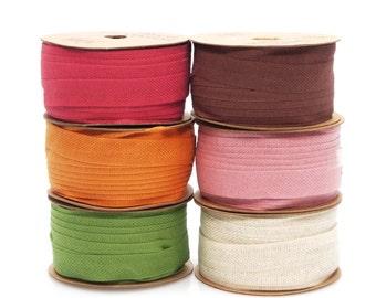 Cotton Linen Blend Fabric Ribbon, 5/8-Inch, 25 Yards