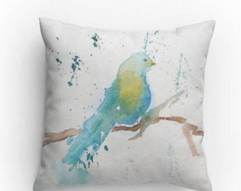 Bird Pillow, Decorative Pillow, Throw Pillow, Bird Design with Pillow Insert, Dorm, Living Room Decor, Watercolor Bird, Blue Bird