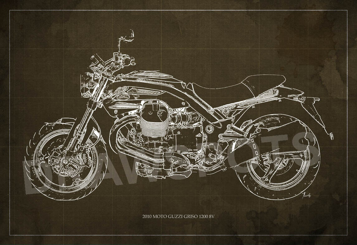 2010 moto guzzi griso1200 8v blueprint art print 8x12in and zoom malvernweather Images