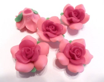 10 Fimo Polymer Clay Pink Rose Flower Rose Fimo Beads 38mm