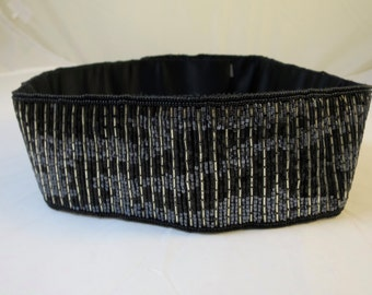 Vintage Black Silver Beaded Belt Cinch Style SM Size by Regale Hand Sewn Beads Formal Evening Belt Velcro Closure Fits up to 28 Waist