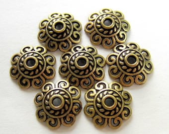 24 Antique bronze bead caps 12mm x 12mm flower lace diy jewelry making 60309-Y5