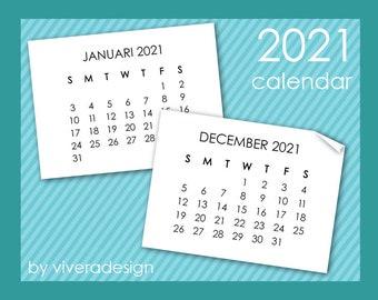 2021 Calendar Clip Art in Sans Serif Font - Instant Download - Mini Calendar