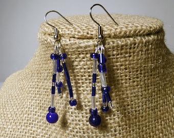 Playful Blue Beaded Earrings, white, whimsical