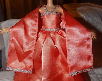 Peach Satin formal dress & shall for Fashion Dolls - ed642
