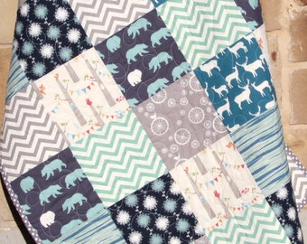 LAST ONES Organic Boy Quilt, Blue Baby Quilt, Woodland Forest, Bears, Buck, Deer, Woodland Animals, Baby Blanket, Chevron, Gift for Baby