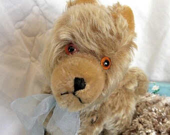 Vintage Dog with Metal Button - 1960's Mohair Husky Puppy
