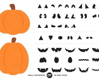 50% OFF SALE! Halloween Clip Art, Jack o' Lantern Clipart, Pumpkin Carving Clip Art - Commercial Use, Instant Download