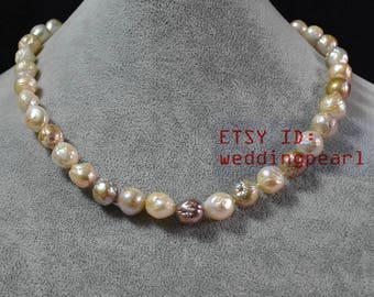 baroque pearl necklaces,genuine pearl necklaces,10-11mm multi-color freshwater pearl necklaces, women jewelry,mother day's present