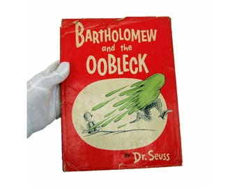 Vintage Bartholomew and the OObleck Dr Seuss Hard Cover First Edition 1948 with Dust Jacket Hardback Red Green