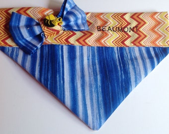 Blue and Orange Embroidered Summer Dog and Cat Bandana/Over the Collar Striped Bandana