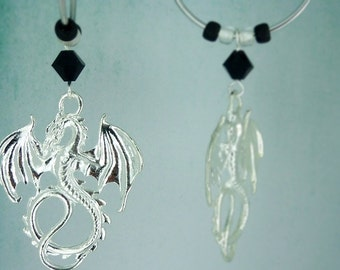 Dragon Earrings / medieval jewelry / gothic jewelry / black - silver / gift for her / gift under 10