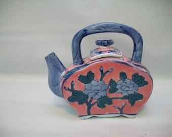 Vintage Ceramic Teapot, Ben Rickert Teapot, Small Flat Teapot, Craft Supplies, Altered Bottle Art Supply, Small China Teapot,