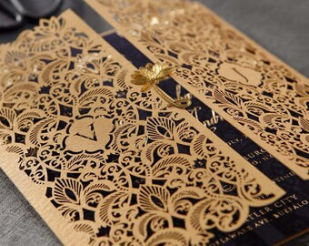 Extravagant Moroccan-Inspired Invitation with Gold Plated Embellishment - IWP16022-NV