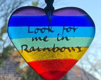 Glass Rainbow memory heart suncatcher / Rememberance rainbow / great british bake off rainbow heart / fused glass / GBBO