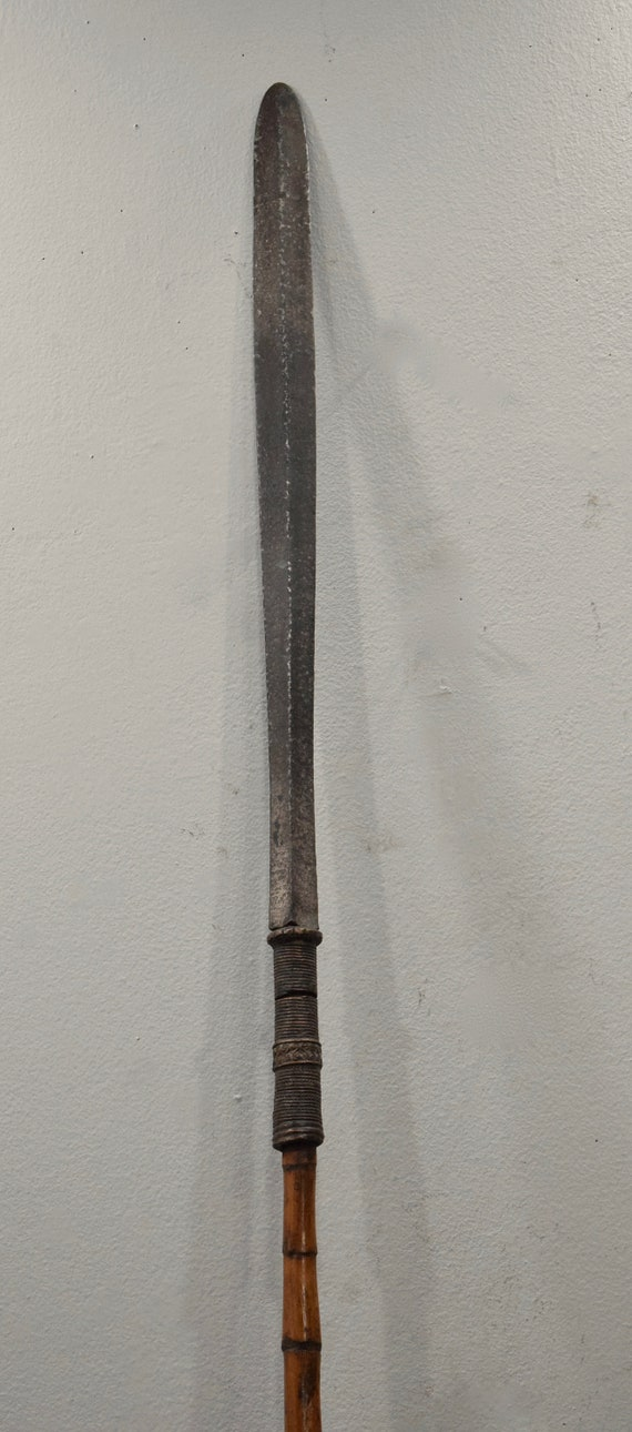 """Southeast Asian Spear Old Iron Bamboo Spear Cambodia 83"""""""