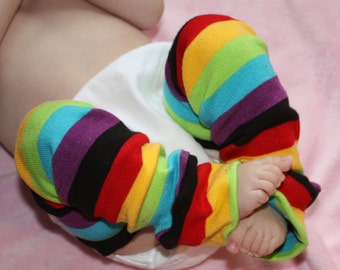 Rainbow Stripe Baby Leg Warmers