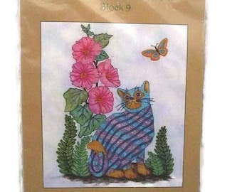 Black Cat Creations Block 9 Plaid Cats in My Garden with Fabric Kit UNCUT