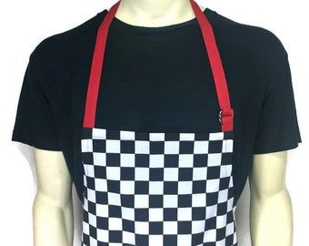 Professional Chef Apron / Black and White Check Apron / Checkerboard Apron / Black and White Chequerboard / Adjustable with Pocket