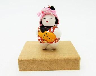 Miniature Japanese doll.Asakusa doll.Komori/Mother and baby.45mm.#jd3.msjapan