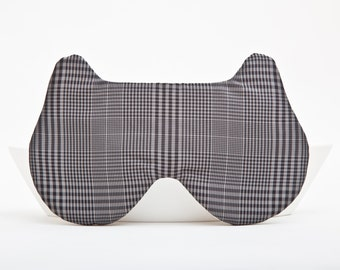 Sleep Mask, Gift for Boyfriend Gray Bear travel eye mask Fathers Day Gifts Checkered Eye Pillow Geometric Boys Sleep mask