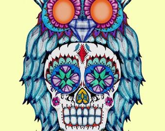 Sugar Skull Owl Fine Art Print