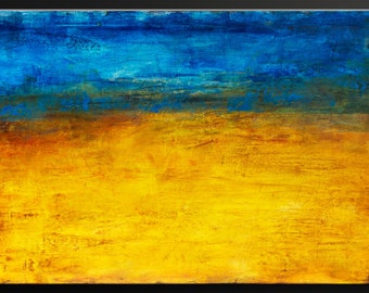Golden Horizon - 36x24 - Abstract Acrylic Painting - Contemporary Modern Wall Art ~ Early Black Friday Blowout Sale