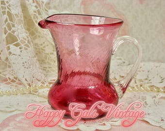 Pink Glass Creamer / Pink Creamer / Little Pink Pitcher / Blown Glass Creamer / Pink Blown Glass Pitcher / Pink Gift / Small Pink Pitcher