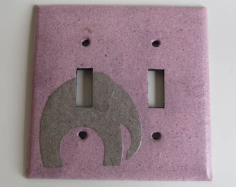 Elephant on Pink- Light switch Plate- double- Recycled Materials