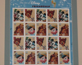 The Art of Disney Friendship Uncut Sheet of 20 Stamps Matted and ready to Frame 8x10