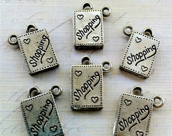 Shopping Bag Charms -6 pieces-(Antique Pewter Silver Finish)--style 604--