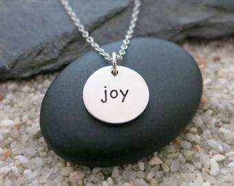 Joy Necklace, Round Sterling Silver Joy Charm, Inspirational Jewelry