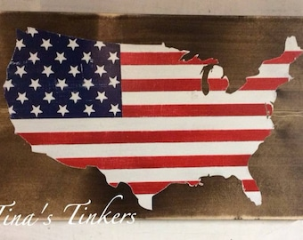 USA painted wood sign. United States. USA flag sign