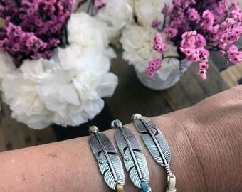 Feather Faux Suede Adjustable Bracelet, Gypsy Jewelry, Boho Bohemian Jewelry, Boho Style