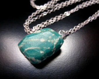 Russian Amazonite Necklace, Sterling Silver Russian Amazonite Nugget, Russian Amazonite Jewelry, Amazonite Chain Necklace, Amazonite Pendant