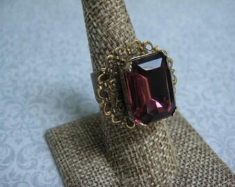 Upcycled Ring, Vintage Ring, Statement Ring, Upcycled Recycled, Repurposed Jewelry, Vintage Earring Ring, Purple Rhinestone Amethyst  /R35