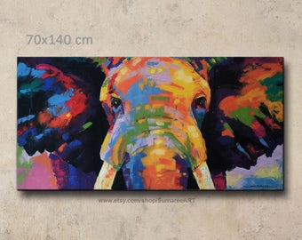 70 x 140 cm,Colorful Elephant Painting wall decor