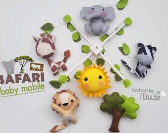 Safari Baby Mobile - Jungle Mobile - Crib Cot Mobile - Nursery Decor - Elephant - Sun - Lion - Zebra - Giraffe & Umbrella Thorn