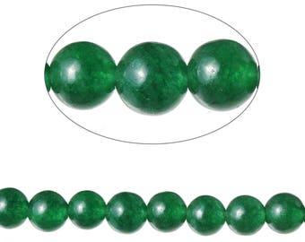 Set 90 Agate beads round 4 mm - SC71590-dark green