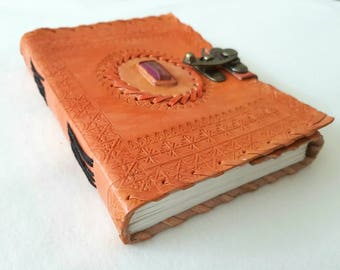 Single Stone Embedded Leather Journal (Orange)