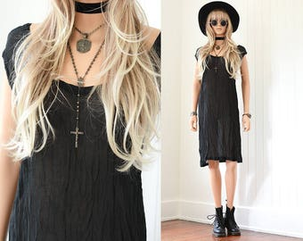 Sheer Gauze Dress 90s Black Dress 90s Grunge Dress Slip Dress Goth 90s Dress Vintage Dress 90s Clothing LBD Dress Vintage SlipDress m