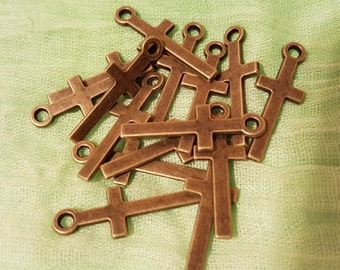 for 30 pcs Tibetan Style Alloy Cross Pendants, Lead Free & Nickel Free, Antique Bronze, 30x11x1.5mm, Hole: 2.5mm (Cr2)